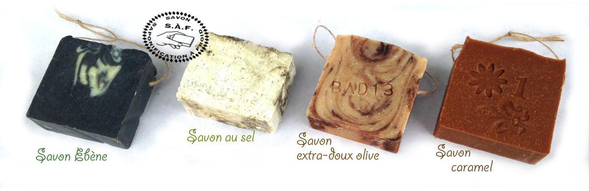 Savon Ebène, Savon au sel, Savon extra-doux olive, Savon Caramel